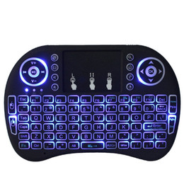 Wholesale 2 G Rii i8 wireless mini keyboard Touch pad mouse Backlit Combo for Tv box tablet mini pc ps3