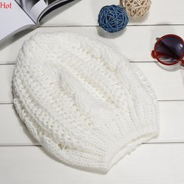 Hot Fashion Hats Womens Lady Beret Braided Baggy Beanie Crochet Warm Winter Hat Ski Cap Wool Knitted Wholesale Beanies Hat Colors SV000242