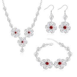 Acheter en ligne 925 ensembles de mariée-Haute Qualité Bijoux Argent 925 Bridal Set Beau romantique collier ajouré Fleurs Bracelet Sets Ruby Earring zircon