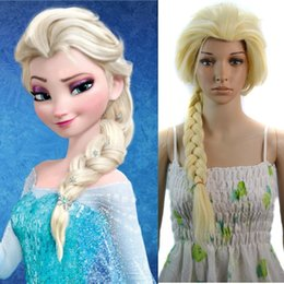 Frozen Elsa Wig top cover Anime cosplay Beige white braids Girl cauda equina Princess Anna Hair extension