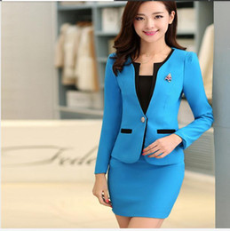 Wholesale-New 2016 Autumn Formal Jacket Sets Ladies Blazer Women Suits with Skirt Office Suits Work Uniform for Beauty Salon