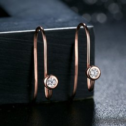 Genuine 925 Sterling Silver Posts Earrings in Rose Golden with Clear CZ Fashion Hoop Stud Earrings for Women ER060