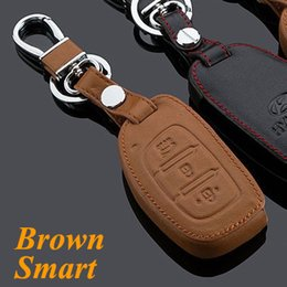 Wholesale Auto parts For Hyundai IX35 Car Keychain Genuine Leather Key Fob Case Cover for ix35 Key Chain Car Accessories