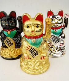 Wholesale Lucky Cat Money cat Maneki Neko Chinese Feng Shui Waving Wealth Fortune Cat Waving hand Cat animal Cats Cartoon store Home Decoration by DHL