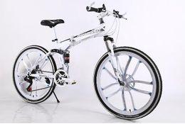 Wholesale 26 Inch speed Folding Mountain Bike Double Shock Absorption Shift Speed bike Double disc One wheel Ten rim bicycle Overseas warehouse