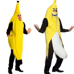 Wholesale Halloween Adult Costumes Christmas Cosplay Dress Banana Clothes Suit Party Funny Cosplay Costume Free Size for Most People