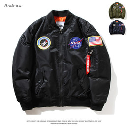 Wholesale Fall Flight Pilot Jacket Coat Bomber Ma1 Men Bomber Jackets Nasa Air Force Embroidery Baseball Military Coats M XXL CD0002 CD0001