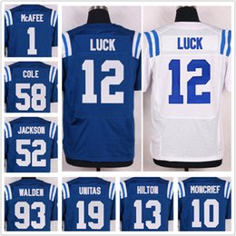 Wholesale Men Pat McAfee Donte Moncrief Andrew Luck TY Hilton Frank Gore Andre Johnson Blue White Elite Football Jerseys