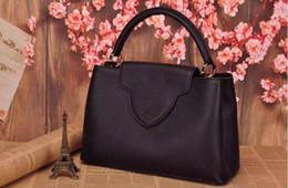 Free Shipping Top-Quality Famous Brand Genuine Leather Handbag fashion Capucines handbag 36cm Women Tote Bag
