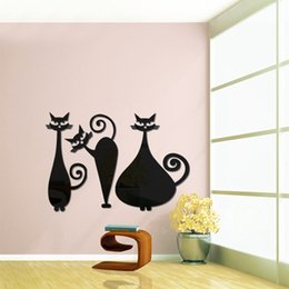 Wholesale 3D Three Cute Cat Arcylic Mirror Wall Stickers DIY Art Decal Removeable Wallpaper Mural Sticker for Living Room Bedroom Black Silver Gold