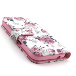 White Pink Flowers Card Holder Floral Protective Phone Case Bag for SAMSUNG GALAXY Core Prime G360F LTE 4G Back Cover Shell