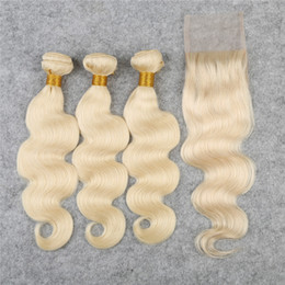 Light blonde 613 Lace Closure With Bundles 4pcs lot Body Wave Hair Bundles With Closure Free Part #613 Remy Hair Weaves