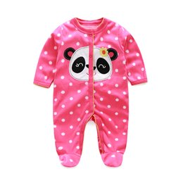 Fleece Baby Long Rompers Pajamas Panda Polka Dot Newborn Sleepwear Footcover Coral Warmer Baby Clothes Wholesale Jumpsuits