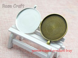 20pcs 50mm Round Pendant Tray Blank, Cabochon Setting, 2inch Round Bezel Pendant Blanks, Blank Cameo Settings