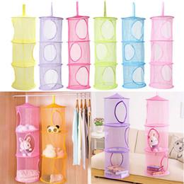 Wholesale 3 Shelf Layer Hanging Storage Basket Bags Net Kids Toy STuffed Plush Organizer Bag Bedroom Wall Door Closet