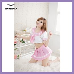Wholesale schoolgirl costume Costume white V NECK PINK sexy baby costume for adults sexy dance free size For Cute Girls