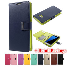 Wholesale Note7 Mercury Rich Diary Wallet PU Leather Case with Card Slots for iPhone SE Plus Samsung S6 S7 Edge Note Grand Prime G530 LG K10