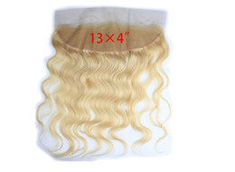 "Eurasian body wave Hair #613 Blonde Lace Frontal Closure 8""-20"" No tangle No shedding DHL free shipping"
