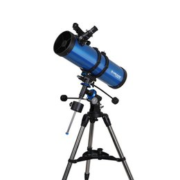 Wholesale New Meade Polaris mm German Equatorial Reflector Telescope w Stainless steel Tripod Blue W2529L