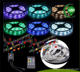Music LED Strip 5M 5050SMD RGB 12V Music Sound Sensor LED Strip Light christmas gift Waterproof IR Controller 20 keyds Include Adapter 5set