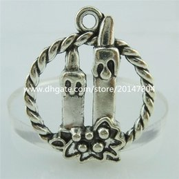 Wholesale 14897 x Alloy Antique Silver Ring Happy Birthday Flower Dinner Candle Pendant