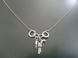 Wholesale antique silver tone Handcuff Gun Bullet charm pendant Necklace chian necklace