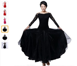 2018 ballroom dance dress lady red rose black lulu jazz tango waltz dance dress competition performance marine costumes for women