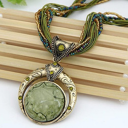 Wholesale New Bohemian Necklace Jewelry Fashion Popular Retro Bohemia Style Multilayer Beads Chain Crystal Gem Grain Pendant Necklace N001