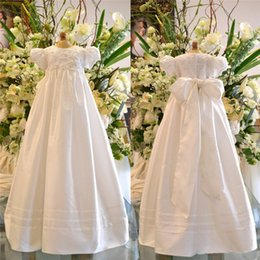 Wholesale Adorable Lace Christening Dresses For Baby Girls Jewel Neck Sleeves Soft Baptism Dress Satin First Communion Gowns