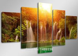 Скидка большие отпечатки на холсте Водопад среди желтого солнца и Грин-Лейк, Большой HD с самым высоким рейтингом Печать холст живописи для гостиной, Wall Art Picture Gift F / 848