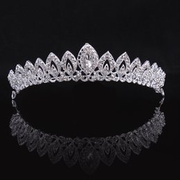 Fantastic Wedding Hair Bridal Tiaras Clear Crystal Rhinestones Crowns Handmade Silver Headband Party Brides Accessories Fine Jewelry White