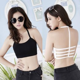 Wholesale-Fashion New Sexy Women Hollow Back Midriff Shirt Tank Top Padded Bra Wrap Tube Tops Chest Sport Bra Crop Tops