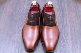 Dress shoes Men's shoes genuine calf leather custom handmade shoes Oxford shoes Color Split hot sale HD-0100