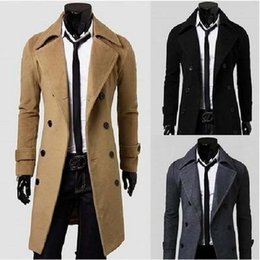 Wholesale Fall Fashion Men s Autumn Winter Coat Turn down Collar Wool Blends Men Pea Coat Double Breasted Winter Over coat For Male