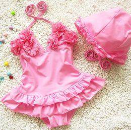 New Baby Girls Swimwear Kids One-piece Rompers Swim Suit Halter Ruffles Bathing Suit Children 2pcs Swimsuit With Cap 11387