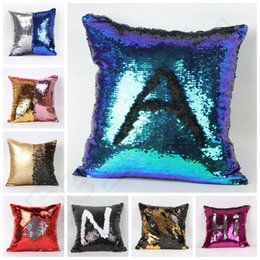 Wholesale Double Sequin Pillow Case Cover Sequin Reversible Pillow Case Sequins Pillowslip Home Sofa Car Decor Mermaid Bright Pillow Covers E32