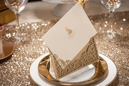 Gold laser cheap cut wedding invitations cards hollow personalized Free print Engagement invitation card with free envelopes