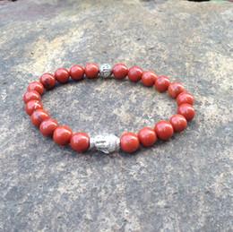 SN0397 Natural Red stone bead bracelet Red stone buddha bracelet diy beads jewelry mala yoga bracelet