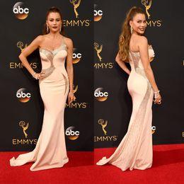 Wholesale one shoulder evening dresses th Annual Emmy Awards Sofia Vergara celebrity red carpet dress sheath sweep train