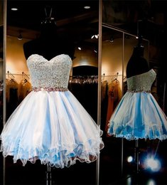 Mini Short Baby Blue Homecoming Dresses Sweet 16 Sweetheart Lace Cocktail Dresses Short Formal Party Gowns With Crystal Beaded Waistband