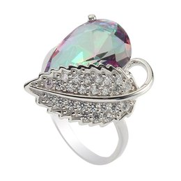 Charm Rainbow Cubic Zirconia 925 sterling Silver rings S--3730 sz#6 7 8 9 European Jewelry For Women Ring Wedding Party Birthday Top Quality