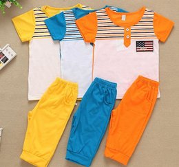 Wholesale High Quality Summer Children Clothing Sets Short sleeved Round Neck Tshirt Jogger Pants Baby Boys Clothes Haren Suit
