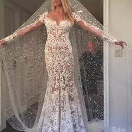 2018 Berta Country Wedding Dresses Sheer Neck Long Sleeves Sexy Backless Mermaid Bridal Dresses Full Lace Appliques Vintage Wedding Gowns