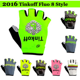 Wholesale 2016 Tinkoff Saxo Bank cycling gloves fluo style bicycle Bike Half Finger gloves fitness riding bikel Bicycle Sports Half Finger Glove