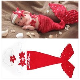 Wholesale 2017 Fashion Newborn Baby Girls Little Mermaid Soft Crochet Knit Costume Baby Photo Props Fotografia Memory Accessory MC0448