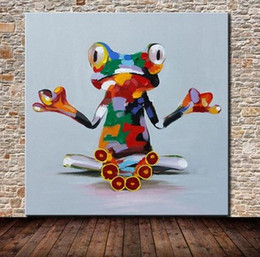 Framed Hand Made Frog Animal ,Pure Hand Painted Cartoon Pop Art Oil Painting On High Quality.Multi sizes Available Free Shipping ali-lovely