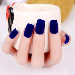 DIY Velvet False Nail Acrylic Design Nail Art Fake Nails Sticker Free Shipping Top Quality Fingers Fake Nails & Nail Art decoration nails