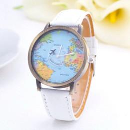 Wholesale 2016 New Fashion Casual Watch Women Wristwatch Personality World Map Airplane Pattern Fabric Leather Quartz Watch Relogio Clock