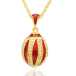 hand red color enamel Pumpkin pendant multiple crystal paved charm necklace Faberge Egg Pendant for Easter day