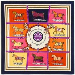 Wholesale Scarves Horse Design - MTscarf 100% Twill Silk Euro Brand French design Ten Horse Pattern Printed Women Gift Silk Scarves